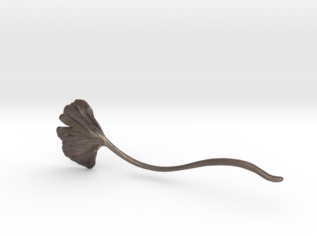 Gingko Hair Pin Curve in Polished Bronzed Silver Steel