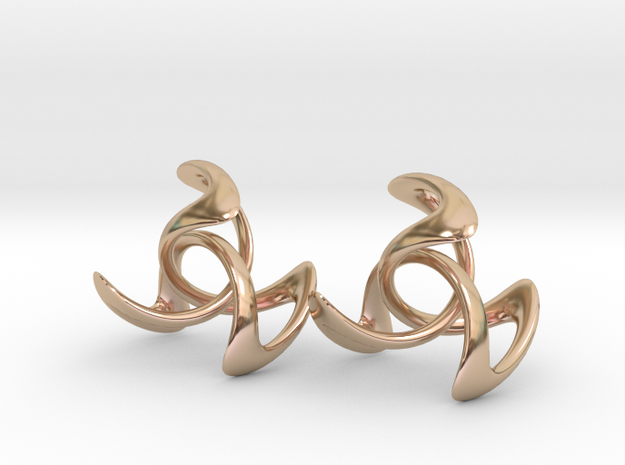 Trinity Earring Pair (3 cm) in 14k Rose Gold Plated Brass
