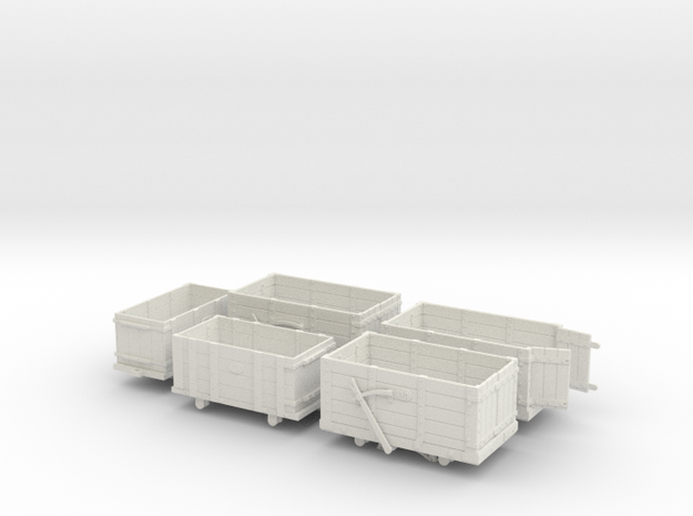 FR Wagon Multi Pack 7mm Scale  in White Natural Versatile Plastic