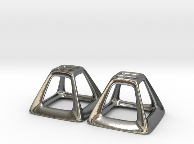 Pyramid Frame Earring Pair in Polished Silver
