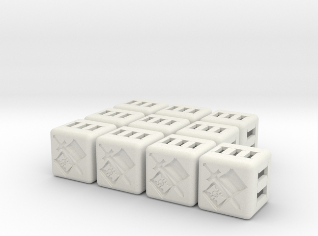 Grey Knights Dice - 10 pack (20mm) in White Natural Versatile Plastic