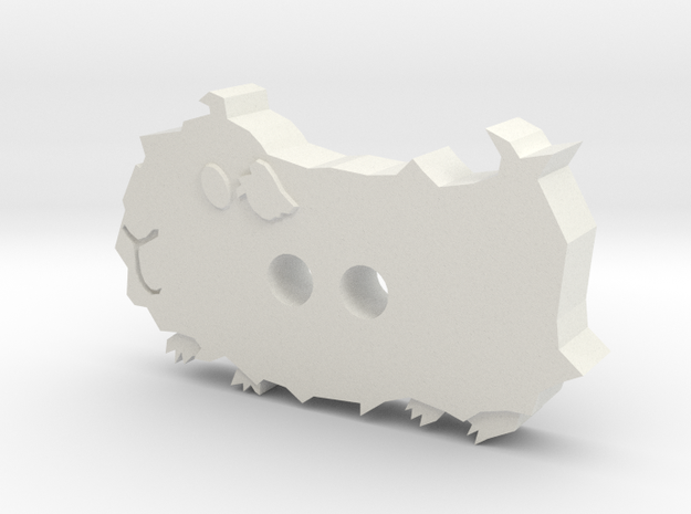 Abyssinian Guinea Pig Button in White Natural Versatile Plastic