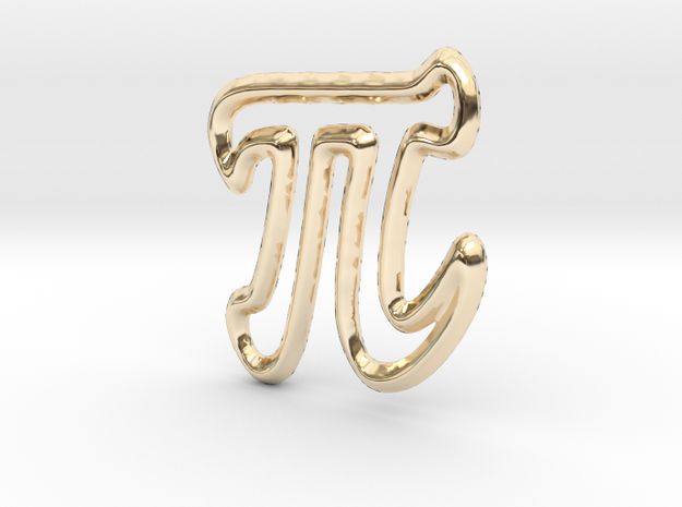 Pi Pendant/Charm - 16mm in 14K Yellow Gold