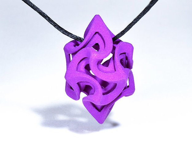 Flame Rhomb Pendant in Purple Processed Versatile Plastic