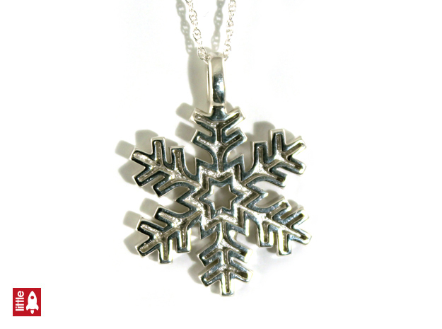 Snowflake with border in Polished Silver