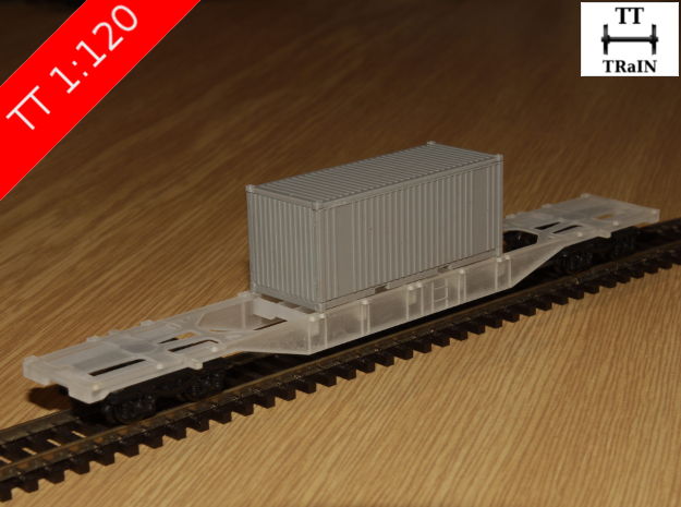 TT Scale Sgnss Container Wagon (EU) in Smooth Fine Detail Plastic