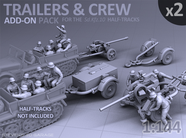 Trailers & Crew : Add-on (2 pack) in Smooth Fine Detail Plastic