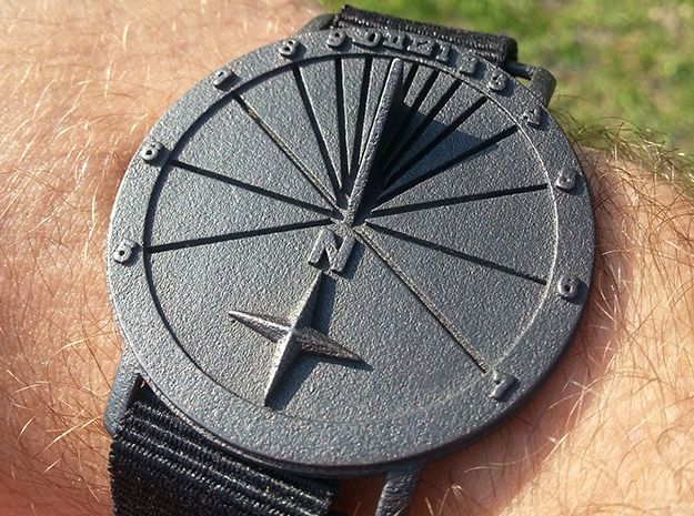 27.75N Sundial Wristwatch With Compass Rose in Polished and Bronzed Black Steel