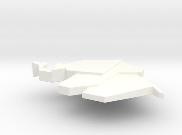 Origami Elephant Pendant in White Processed Versatile Plastic