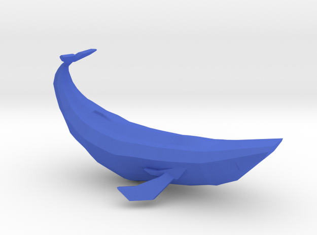 Small Geometric Blue Whale in Blue Processed Versatile Plastic