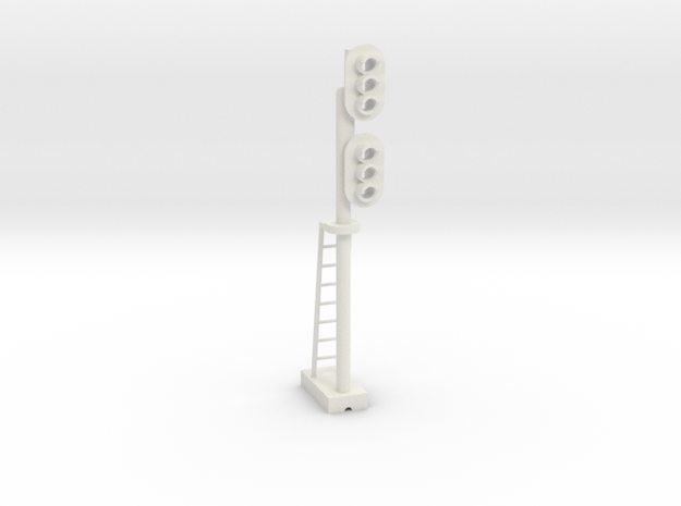 Block Signal Double 3 Light RH - HO 87:1 Scale in White Natural Versatile Plastic