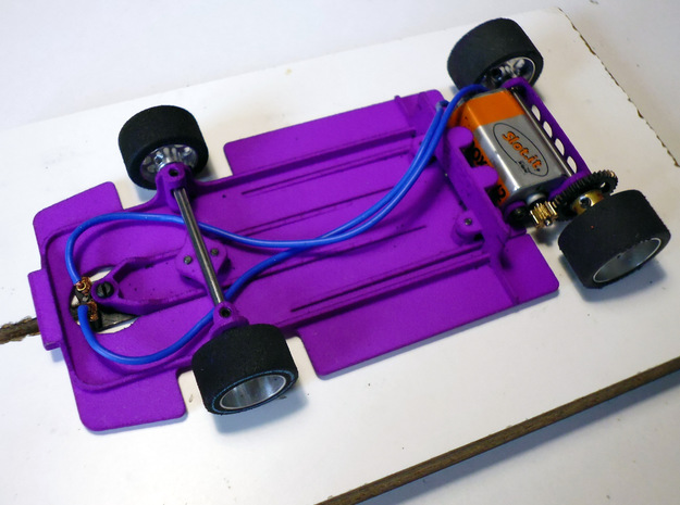 Slot car chassis for Enzo 1/28 in Purple Strong & Flexible Polished
