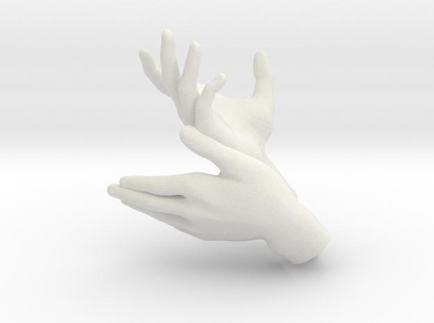 Deer - Hand Shadows in White Natural Versatile Plastic