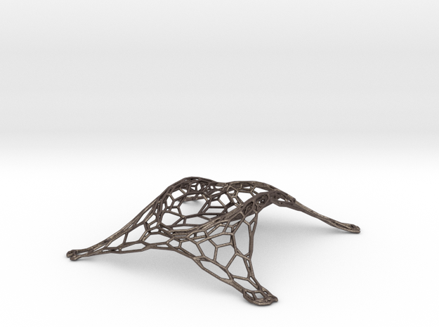 Tessellated Wine Bottle Stand in Polished Bronzed Silver Steel
