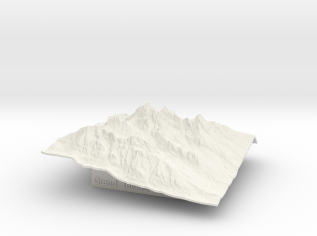 3'' Grand Tetons Terrain Model, Wyoming, USA 3d printed
