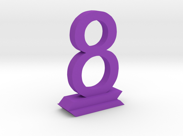 Table Number 8 in Purple Processed Versatile Plastic
