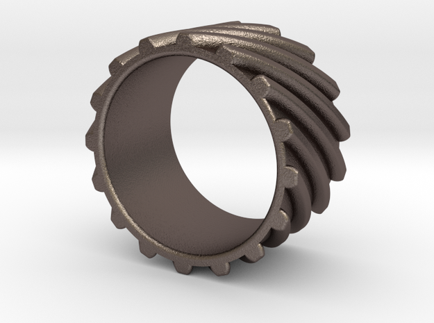 Helical Gear Ring US Size 10 in Stainless Steel