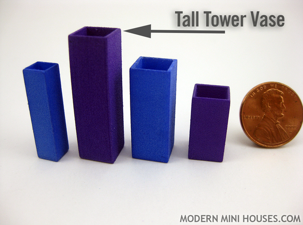 Tower Vase Tall 1:12 scale 3d printed (actual material is Purple Strong & Flexible Polished)