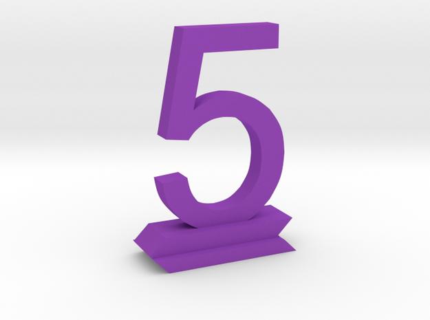 Table Number 5 in Purple Processed Versatile Plastic