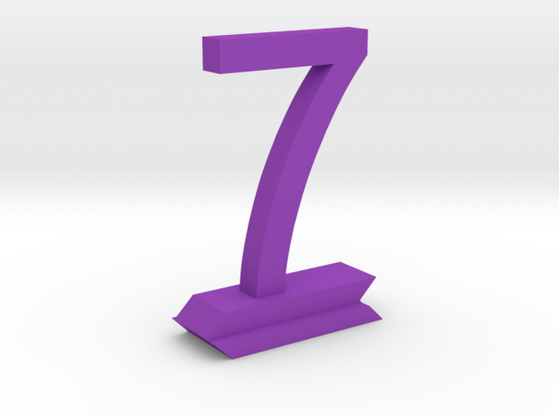 Table Number 7 in Purple Processed Versatile Plastic