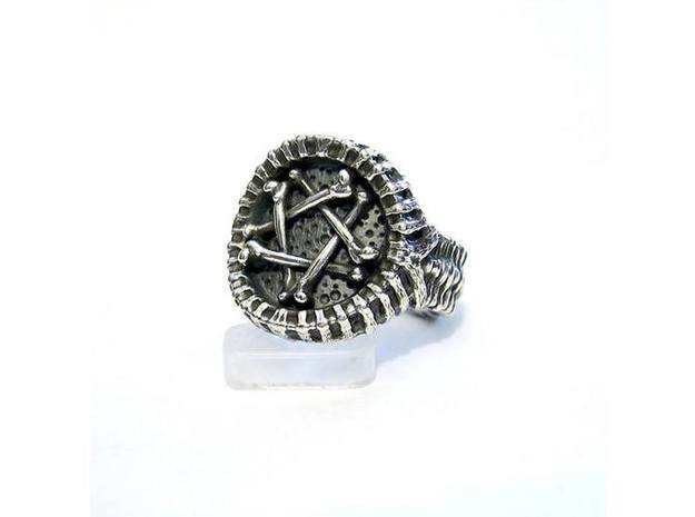 Pentagram Ring - Sz 8 3d printed Sterling Silver with aftermarket patina and lightly polished