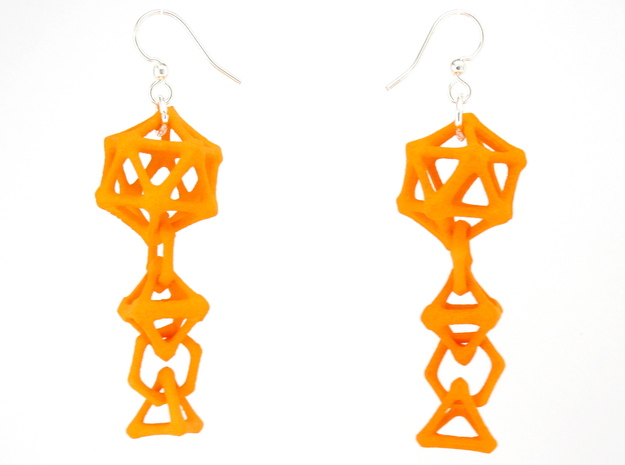 Platonic Progression Earrings - Bone 3d printed Earrings shown printed in orange Strong and Flexible, finished with silver-plated fishhook earwires