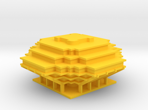 Geisel Library (2 Inches accross) in Yellow Strong & Flexible Polished