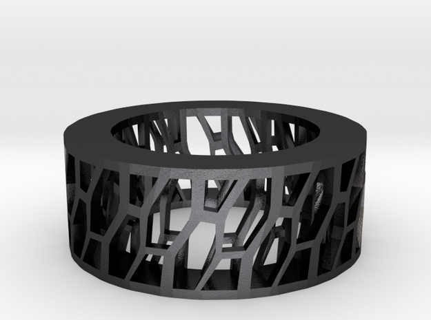 Framework Ring- Intrincate Simple in Polished and Bronzed Black Steel
