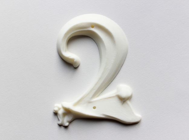Art Nouveau House Number: 2 in White Natural Versatile Plastic