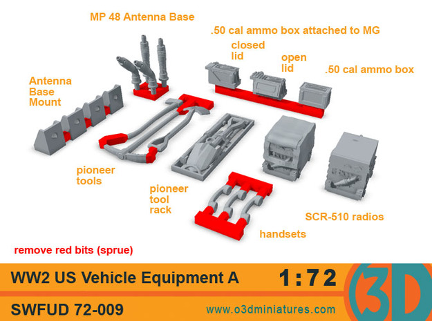 WW2 US Vehicle Equipment A 1/72 scale SWFUD-72-009
