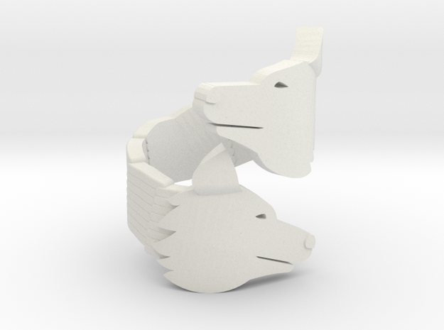 Wolf Head Ring in White Natural Versatile Plastic