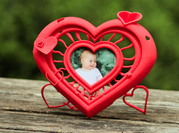 Heart Frame in Red Processed Versatile Plastic