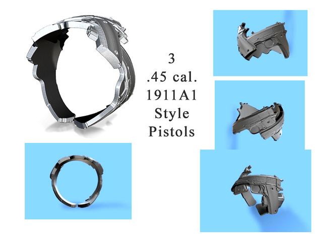 345 3 1911A1 45 cal pistols, Ring Size 10 3d printed