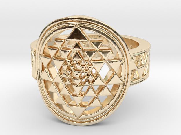 New Design Sri Yantra Ring Size 9 in 14K Gold