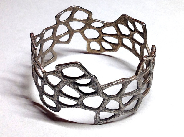 Cells Bracelet (67mm) 3d printed in stainless steel