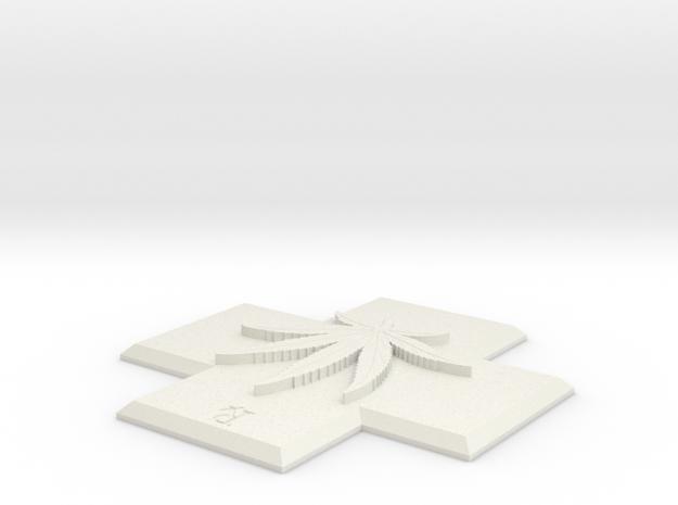 MED-FLT-POT LEAF in White Natural Versatile Plastic