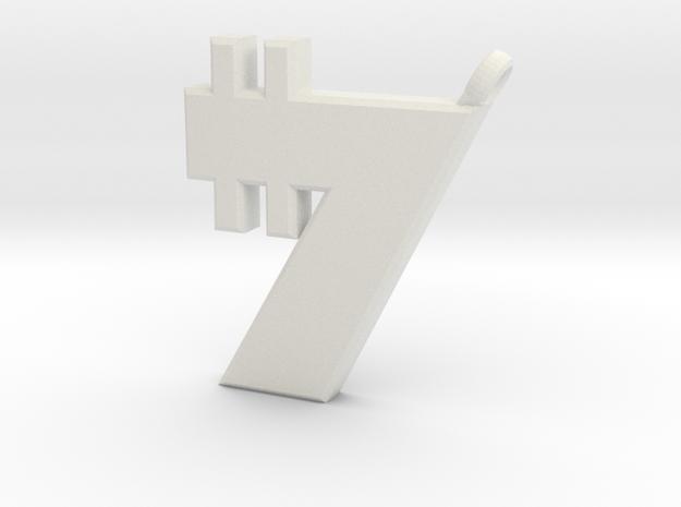 Credit Pendant in White Natural Versatile Plastic