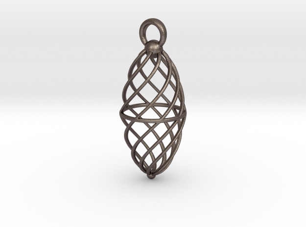 Twisted Cage ling in Polished Bronzed Silver Steel