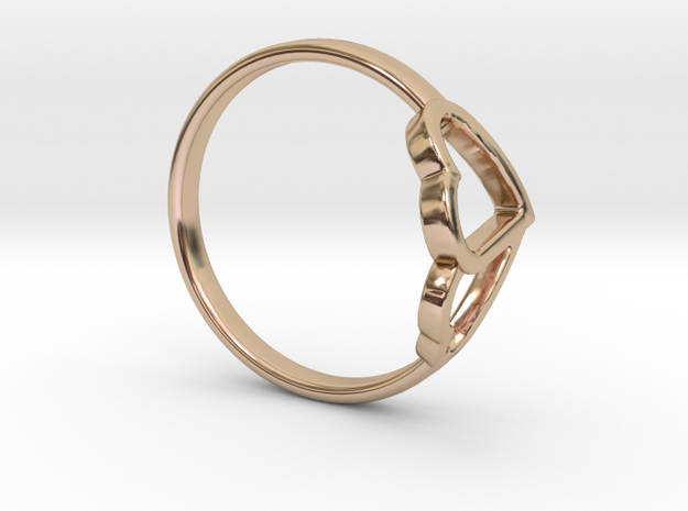 Ø0.638/Ø16.209 mm Overlapping Hearts Ring in 14k Rose Gold Plated Brass