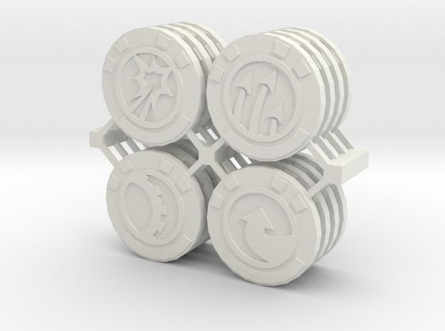 Star Wars Armada Command Tokens in White Natural Versatile Plastic