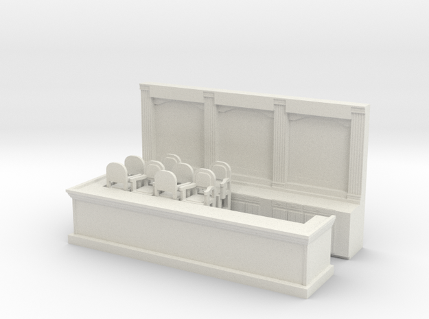Bar & 8 Stools - 'O' 48:1 Scale in White Natural Versatile Plastic