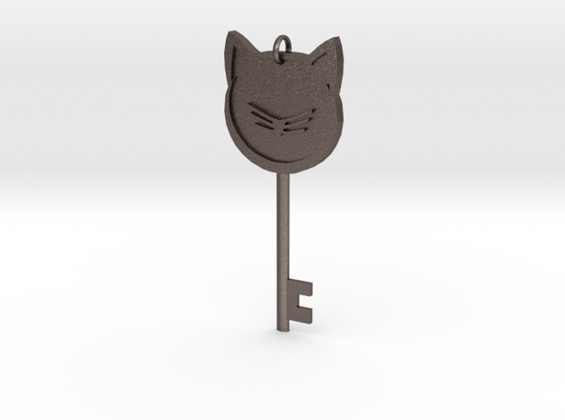 Cat Key Pendent in Polished Bronzed Silver Steel