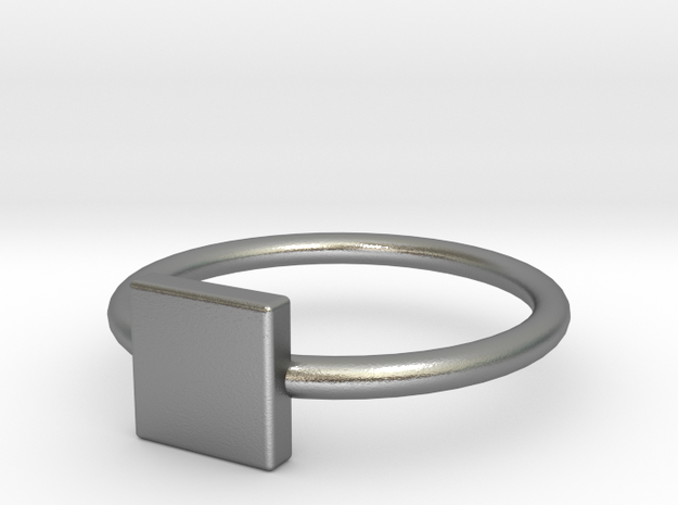 Square Ring Size 5 in Raw Silver