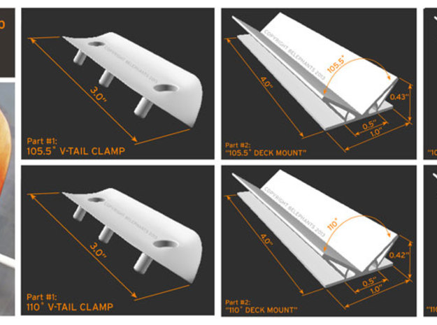 V-Tail Clamp: 105.5 degrees for Passer/X, etc. 3d printed Dimensions for both 105.5 & 110 Degrees Clamps & Deck Mounts