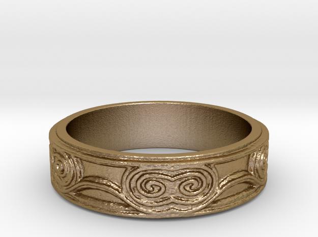 Swirl - US 8 in Polished Gold Steel