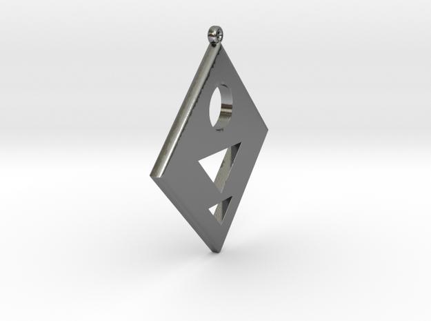 Rhombus Earring in Polished Silver