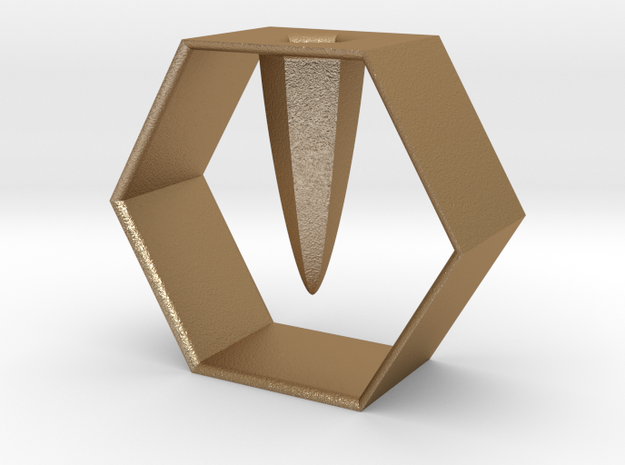 HEXAGON pen holder in Matte Gold Steel