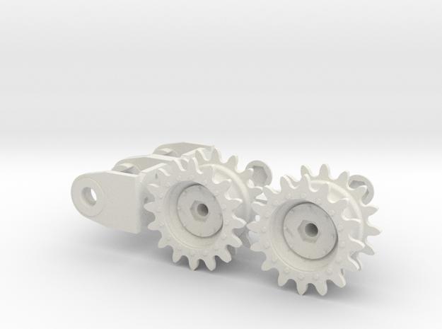 1:16 Motor Mount _TYPE97 TANK with sprocket wheel in White Natural Versatile Plastic