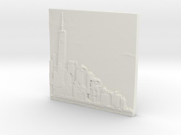Manhattan Skyline in White Strong & Flexible