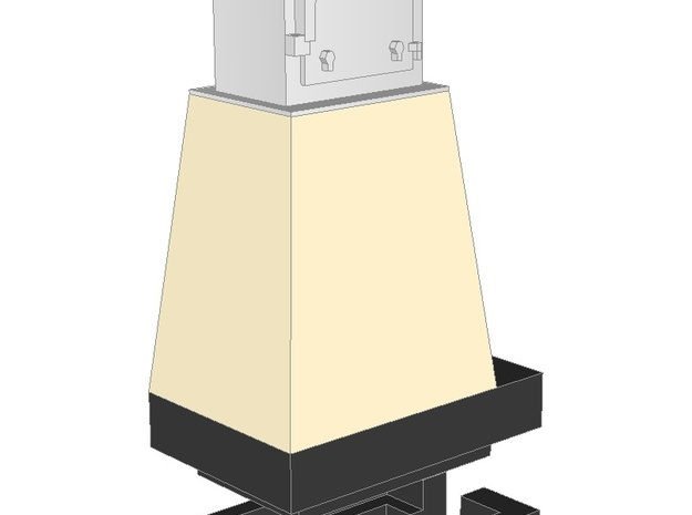 WIP - N 1:160 Semaphore Base 1 cabinet A 3d printed Painted render - base with narrow cabinet